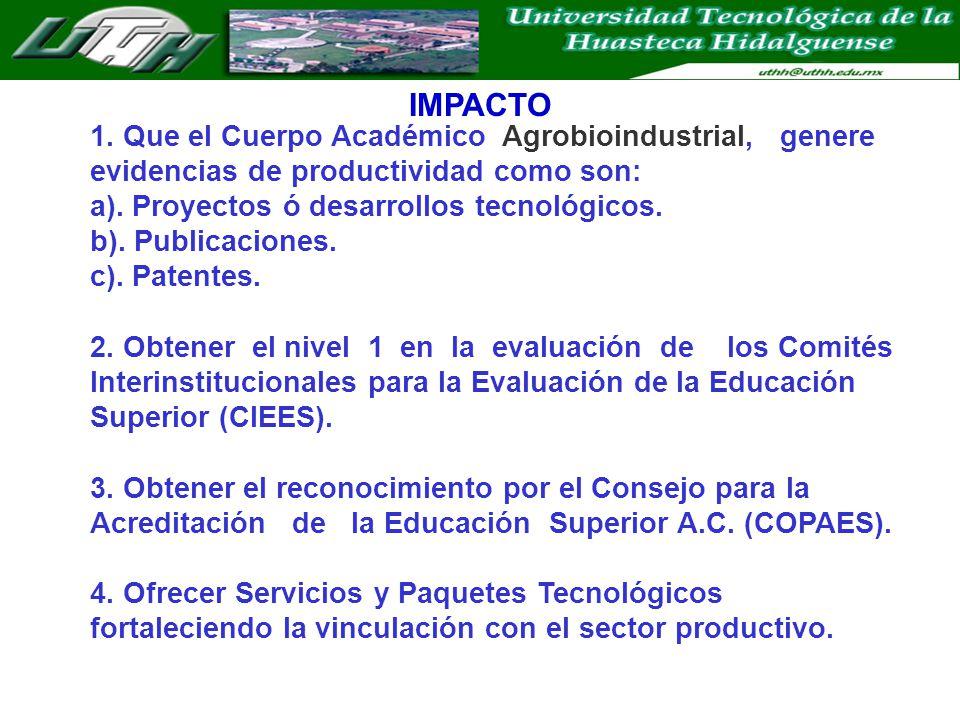 IMPACTO 1. Que el Cuerpo Académico Agrobioindustrial, genere evidencias de productividad como son: a). Proyectos ó desarrollos tecnológicos. b). Publi