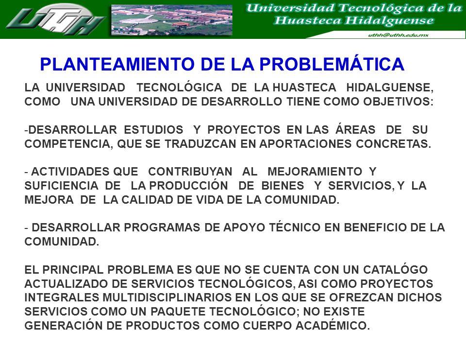 PLANTEAMIENTO DE LA PROBLEMÁTICA LA UNIVERSIDAD TECNOLÓGICA DE LA HUASTECA HIDALGUENSE, COMO UNA UNIVERSIDAD DE DESARROLLO TIENE COMO OBJETIVOS: -DESARROLLAR ESTUDIOS Y PROYECTOS EN LAS ÁREAS DE SU COMPETENCIA, QUE SE TRADUZCAN EN APORTACIONES CONCRETAS.