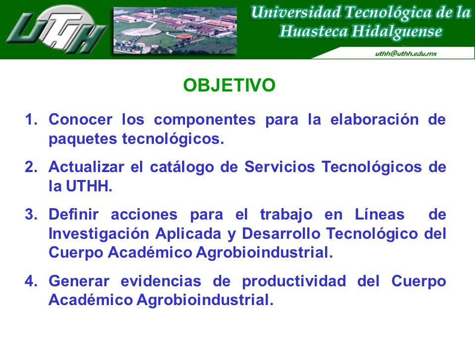 1.Conocer los componentes para la elaboración de paquetes tecnológicos. 2.Actualizar el catálogo de Servicios Tecnológicos de la UTHH. 3.Definir accio
