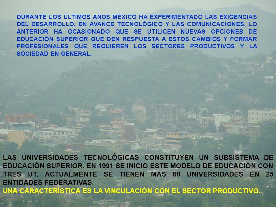 DURANTE LOS ÚLTIMOS AÑOS MÉXICO HA EXPERIMENTADO LAS EXIGENCIAS DEL DESARROLLO, EN AVANCE TECNOLÓGICO Y LAS COMUNICACIONES.