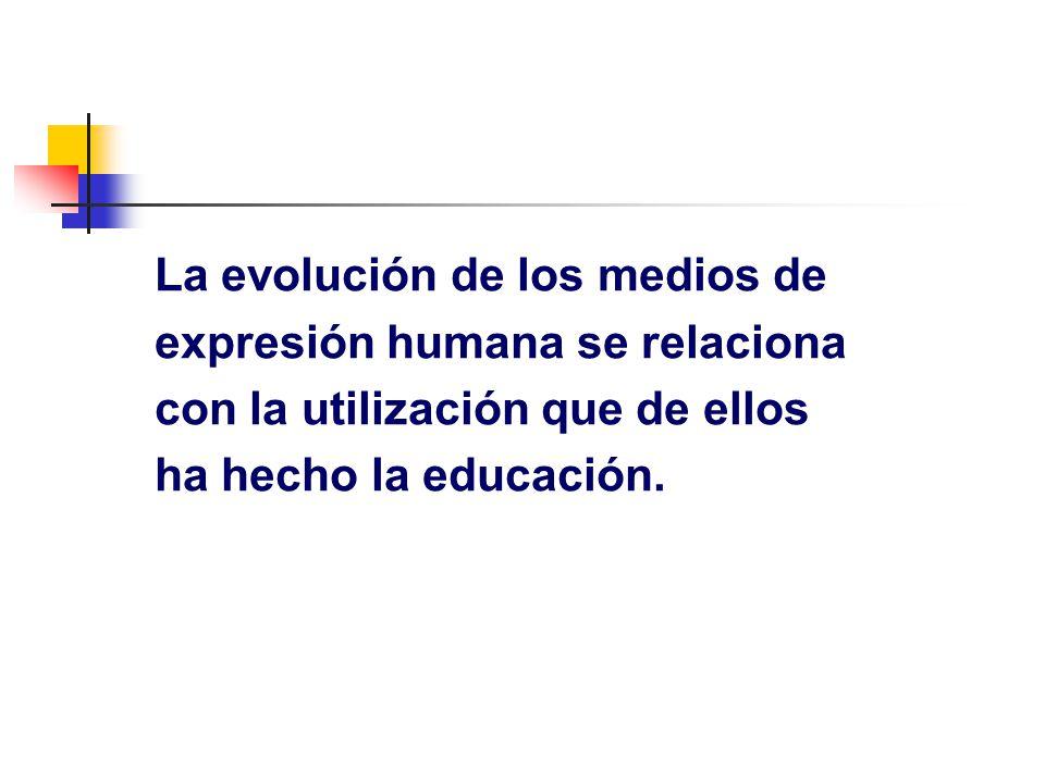 La evolución de los medios de expresión humana se relaciona con la utilización que de ellos ha hecho la educación.