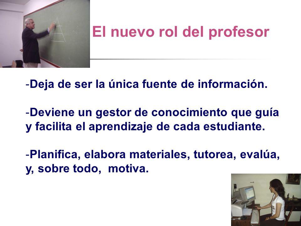 El nuevo rol del profesor -Deja de ser la única fuente de información.