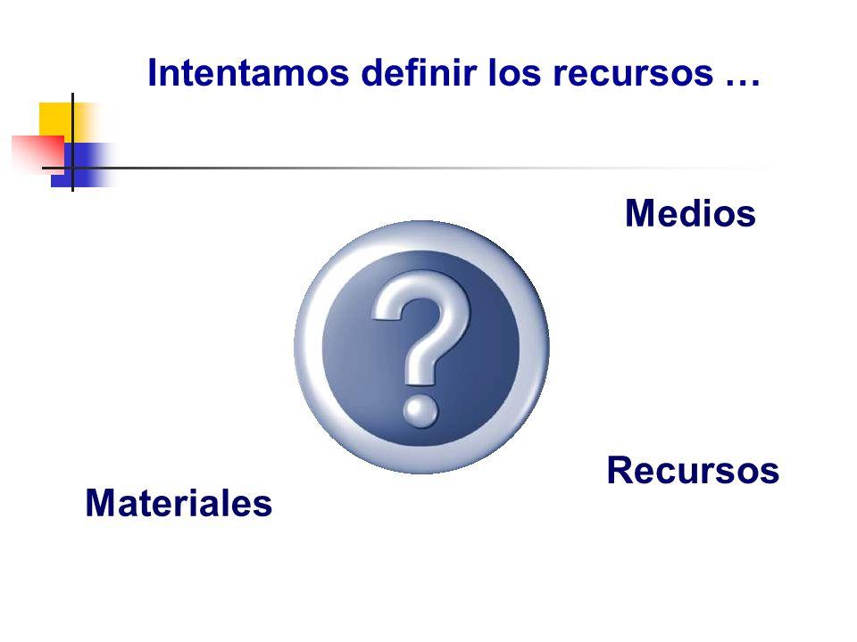Intentamos definir los recursos … Medios Materiales Recursos