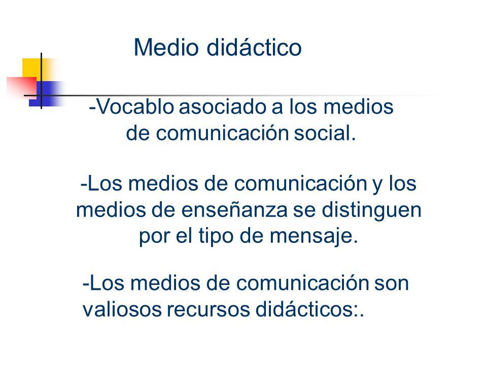 Medio didáctico -Vocablo asociado a los medios de comunicación social.