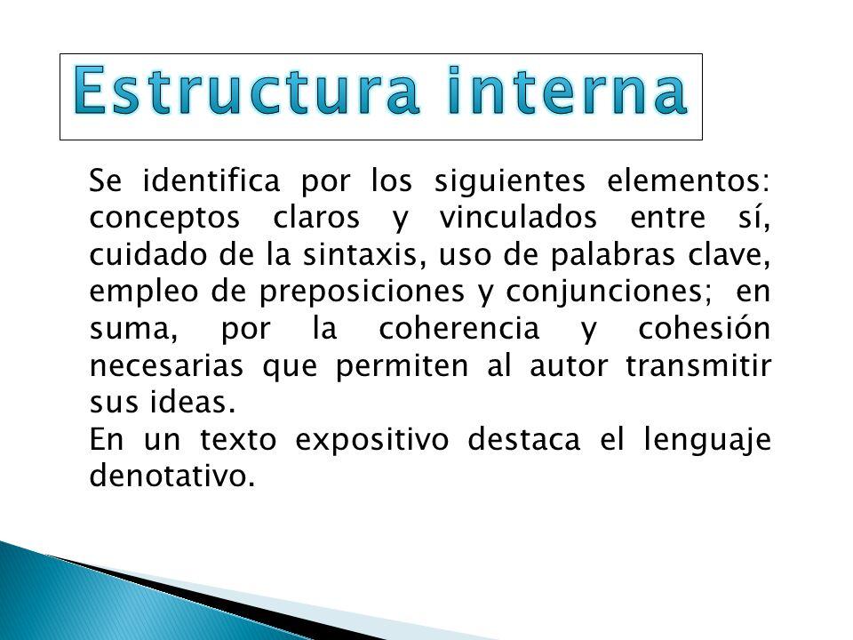 Se identifica por los siguientes elementos: conceptos claros y vinculados entre sí, cuidado de la sintaxis, uso de palabras clave, empleo de preposici