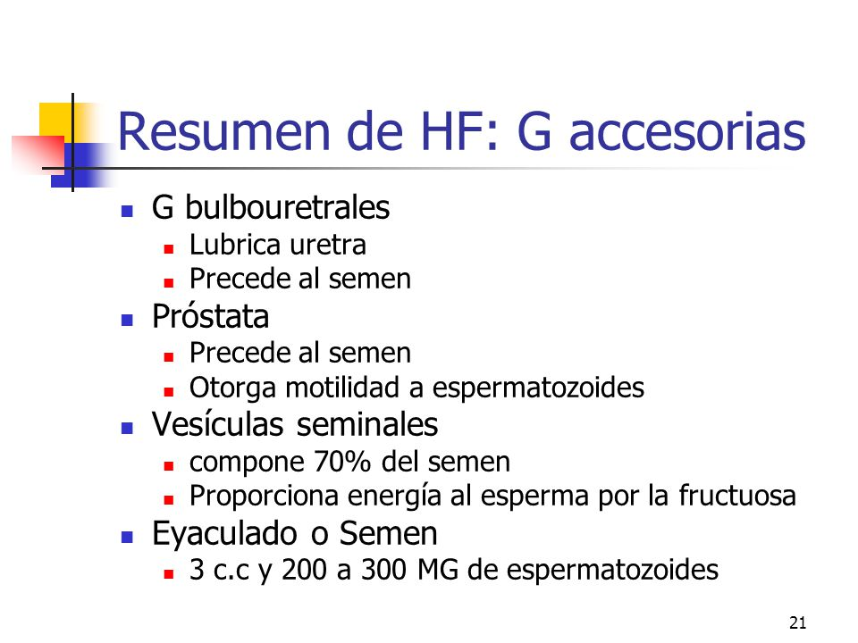 20 Glándulas bulbo uretrales de Cowper (e)e 3 a 5 mm de diámetro Raíz del pene. Altura de uretra membranosa Cápsula fibroelástica c/músculo liso y est