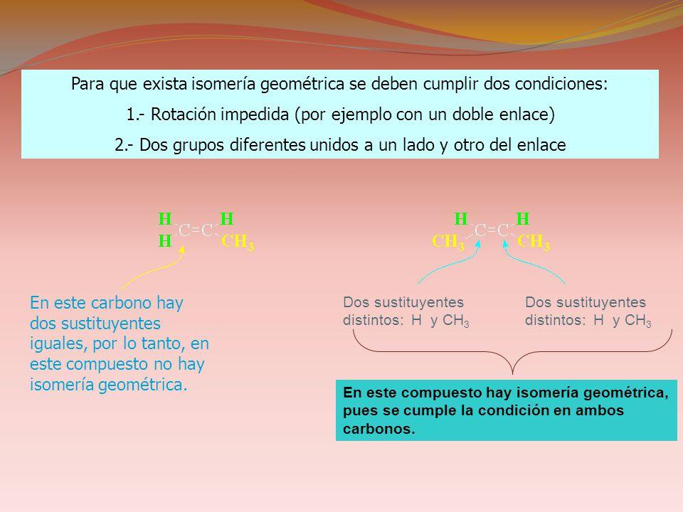 Dos sustituyentes distintos: H y CH 3 En este compuesto hay isomería geométrica, pues se cumple la condición en ambos carbonos.