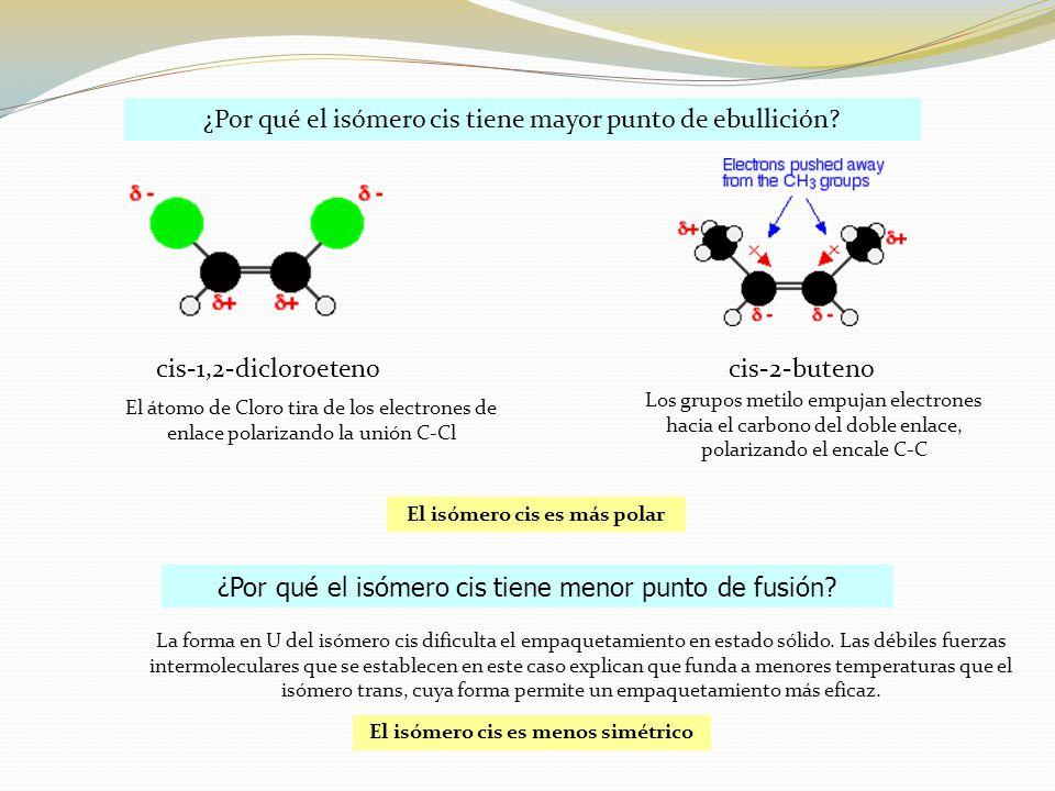 ¿Por qué el isómero cis tiene mayor punto de ebullición.
