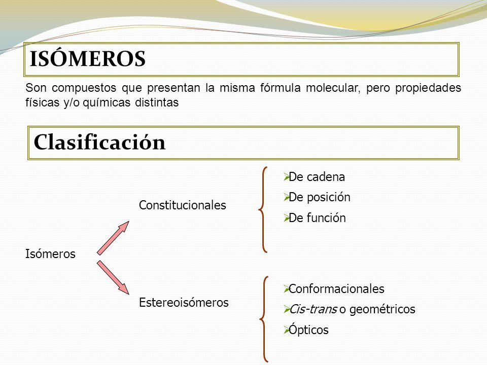 ISÓMEROS Son compuestos que presentan la misma fórmula molecular, pero propiedades físicas y/o químicas distintas Clasificación Isómeros Constitucionales Estereoisómeros De cadena De posición De función Conformacionales Cis-trans o geométricos Ópticos