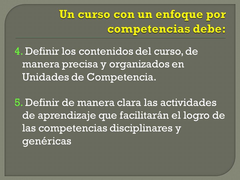 4. Definir los contenidos del curso, de manera precisa y organizados en Unidades de Competencia. 5. Definir de manera clara las actividades de aprendi