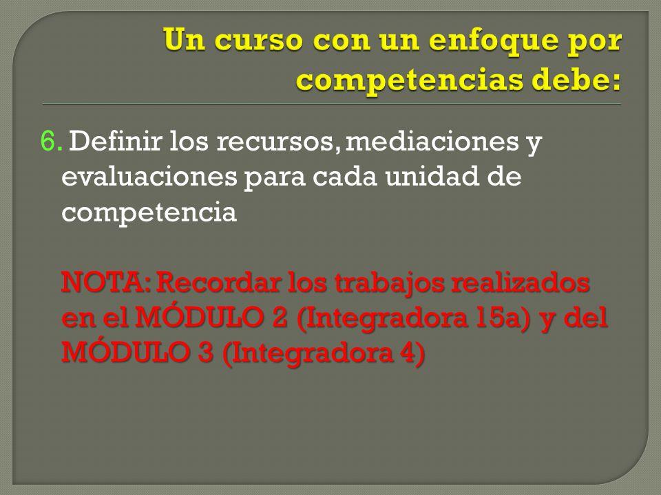 6. Definir los recursos, mediaciones y evaluaciones para cada unidad de competencia NOTA: Recordar los trabajos realizados en el MÓDULO 2 (Integradora