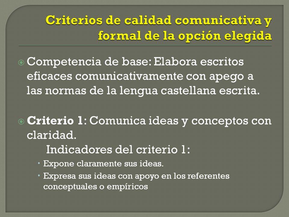 Competencia de base: Elabora escritos eficaces comunicativamente con apego a las normas de la lengua castellana escrita. Criterio 1: Comunica ideas y