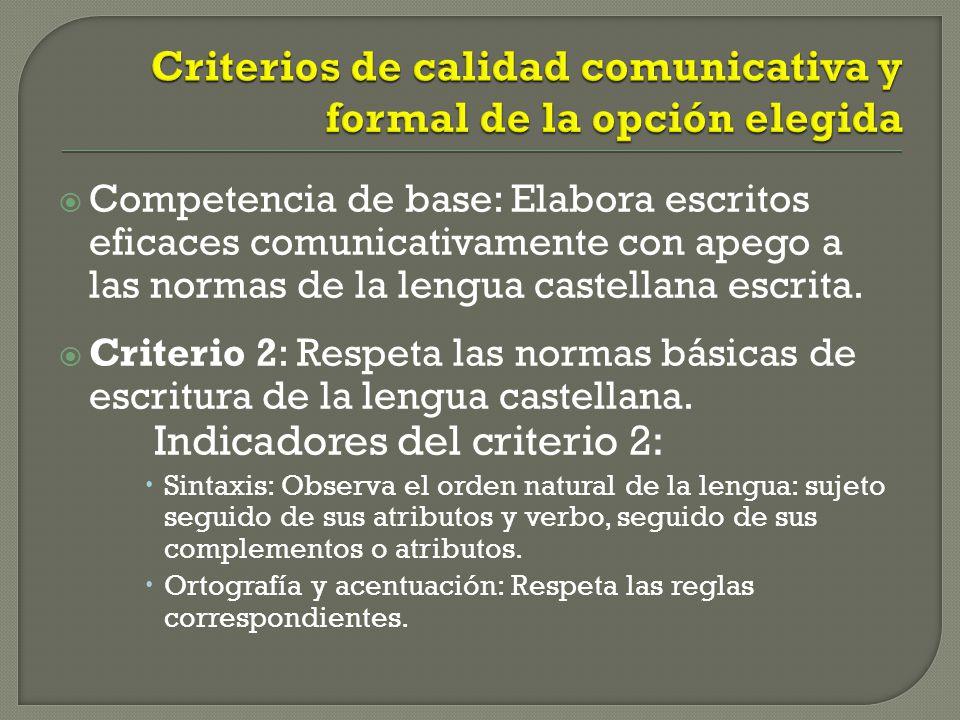 Competencia de base: Elabora escritos eficaces comunicativamente con apego a las normas de la lengua castellana escrita. Criterio 2: Respeta las norma