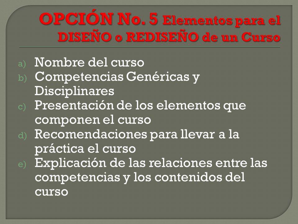 a) Nombre del curso b) Competencias Genéricas y Disciplinares c) Presentación de los elementos que componen el curso d) Recomendaciones para llevar a