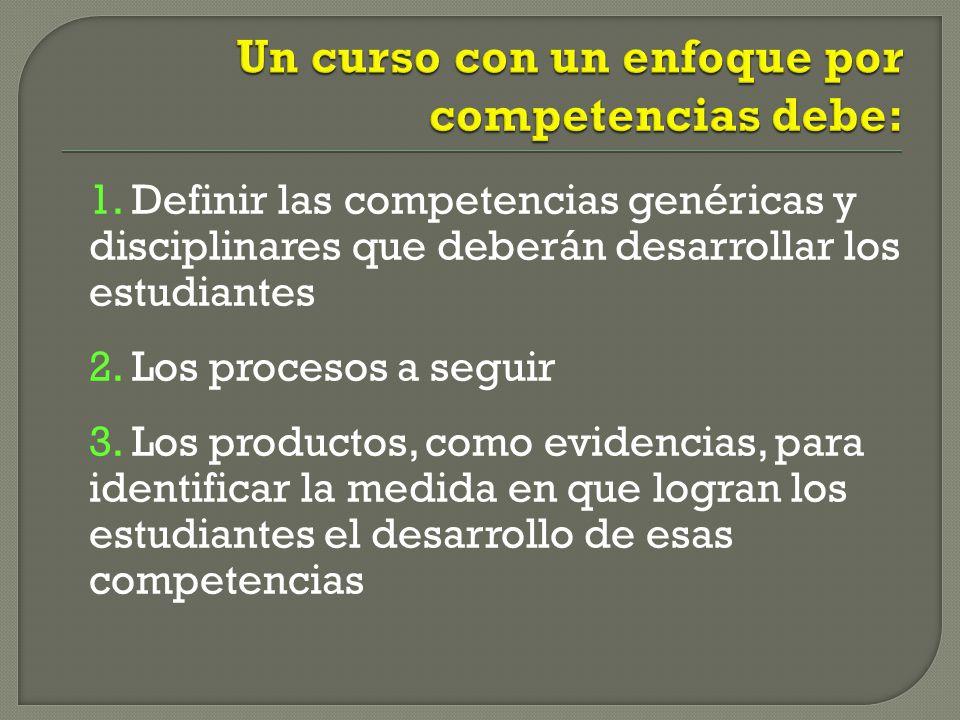 1.Definir las competencias genéricas y disciplinares que deberán desarrollar los estudiantes 2.
