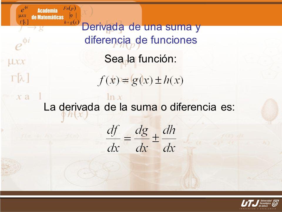 Matemáticas IIFís. Edgar I. Sánchez Rangel Derivada de una suma y diferencia de funciones Sea la función: La derivada de la suma o diferencia es: