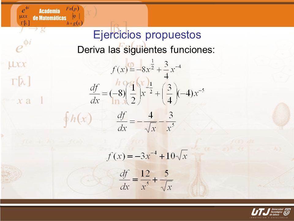 Matemáticas IIFís. Edgar I. Sánchez Rangel Ejercicios propuestos Deriva las siguientes funciones: