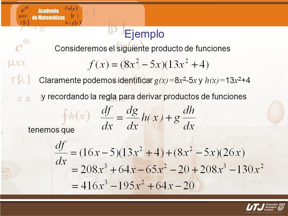 Matemáticas IIFís. Edgar I. Sánchez Rangel Ejemplo Consideremos el siguiente producto de funciones Claramente podemos identificar g(x)= 8 x 2 -5 x y h