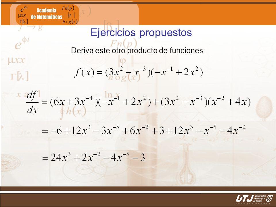 Matemáticas IIFís. Edgar I. Sánchez Rangel Deriva este otro producto de funciones: Ejercicios propuestos