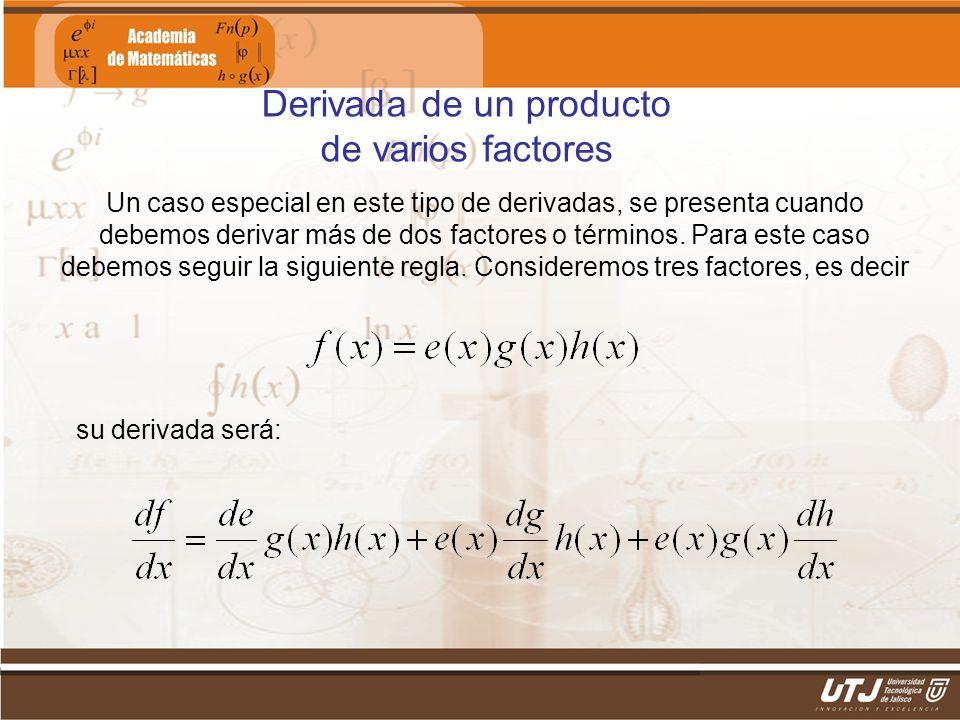 Matemáticas IIFís. Edgar I. Sánchez Rangel Derivada de un producto de varios factores Un caso especial en este tipo de derivadas, se presenta cuando d
