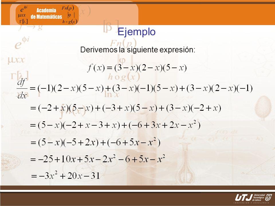 Matemáticas IIFís. Edgar I. Sánchez Rangel Ejemplo Derivemos la siguiente expresión: