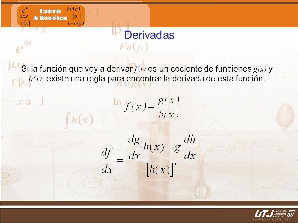 Matemáticas IIFís. Edgar I. Sánchez Rangel Derivadas Si la función que voy a derivar f(x) es un cociente de funciones g(x) y h(x), existe una regla pa
