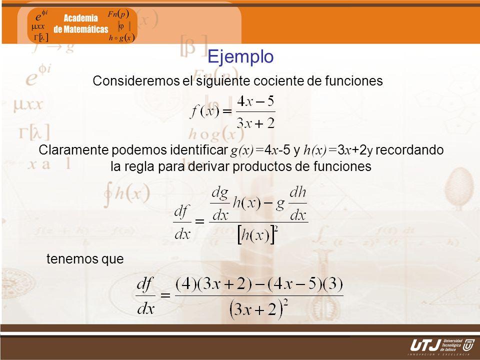 Matemáticas IIFís. Edgar I. Sánchez Rangel Ejemplo Consideremos el siguiente cociente de funciones Claramente podemos identificar g(x)= 4 x -5 y h(x)=