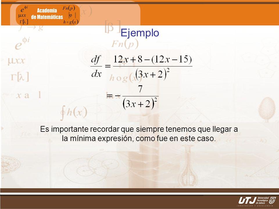 Matemáticas IIFís. Edgar I. Sánchez Rangel Ejemplo Es importante recordar que siempre tenemos que llegar a la mínima expresión, como fue en este caso.