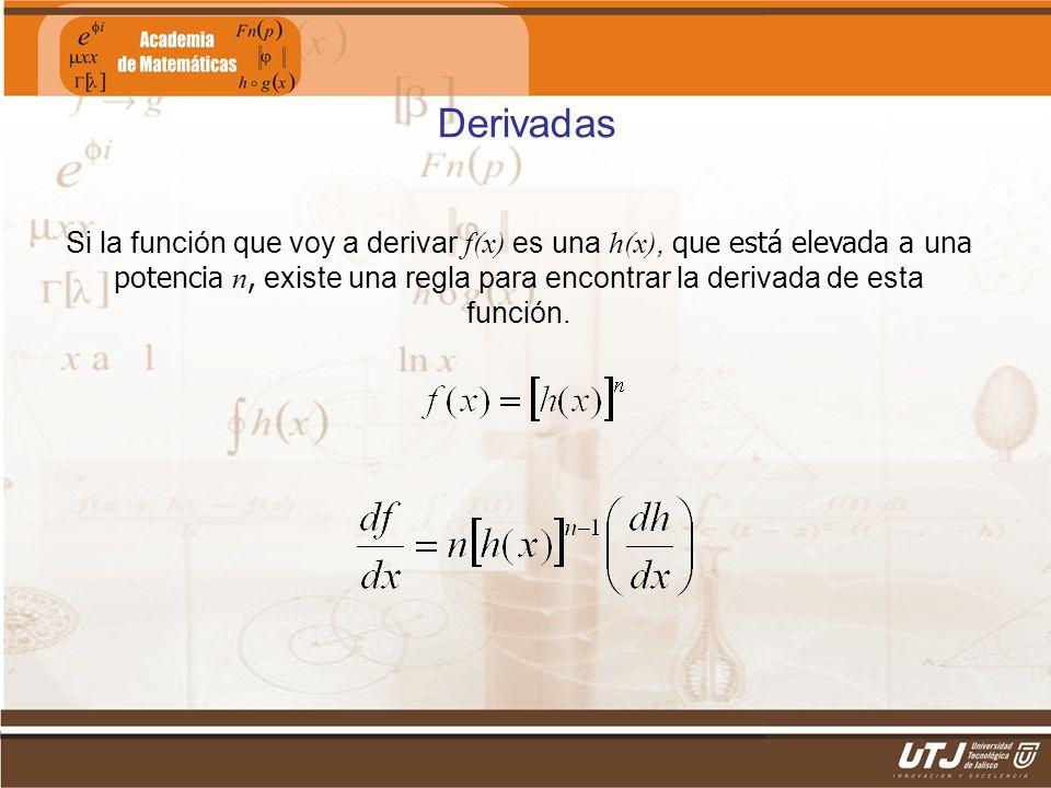 Matemáticas IIFís. Edgar I. Sánchez Rangel Derivadas Si la función que voy a derivar f(x) es una h(x), que está elevada a una potencia n, existe una r