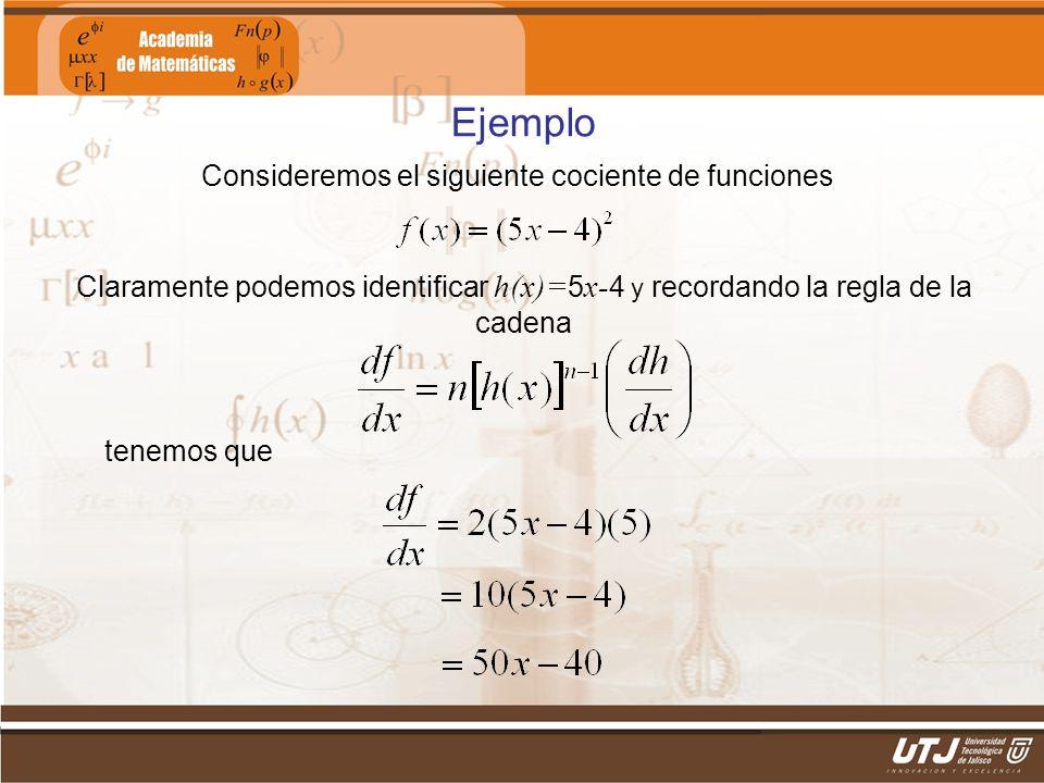 Matemáticas IIFís. Edgar I. Sánchez Rangel Ejemplo Consideremos el siguiente cociente de funciones Claramente podemos identificar h(x)= 5 x- 4 y recor