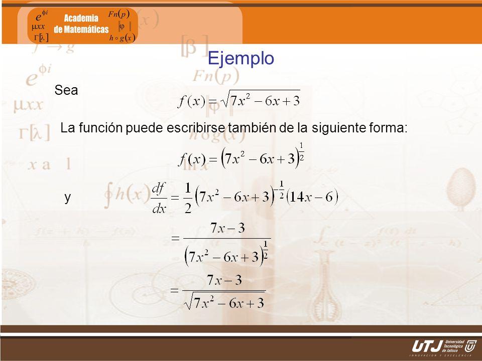 Matemáticas IIFís. Edgar I. Sánchez Rangel Ejemplo Sea La función puede escribirse también de la siguiente forma: y