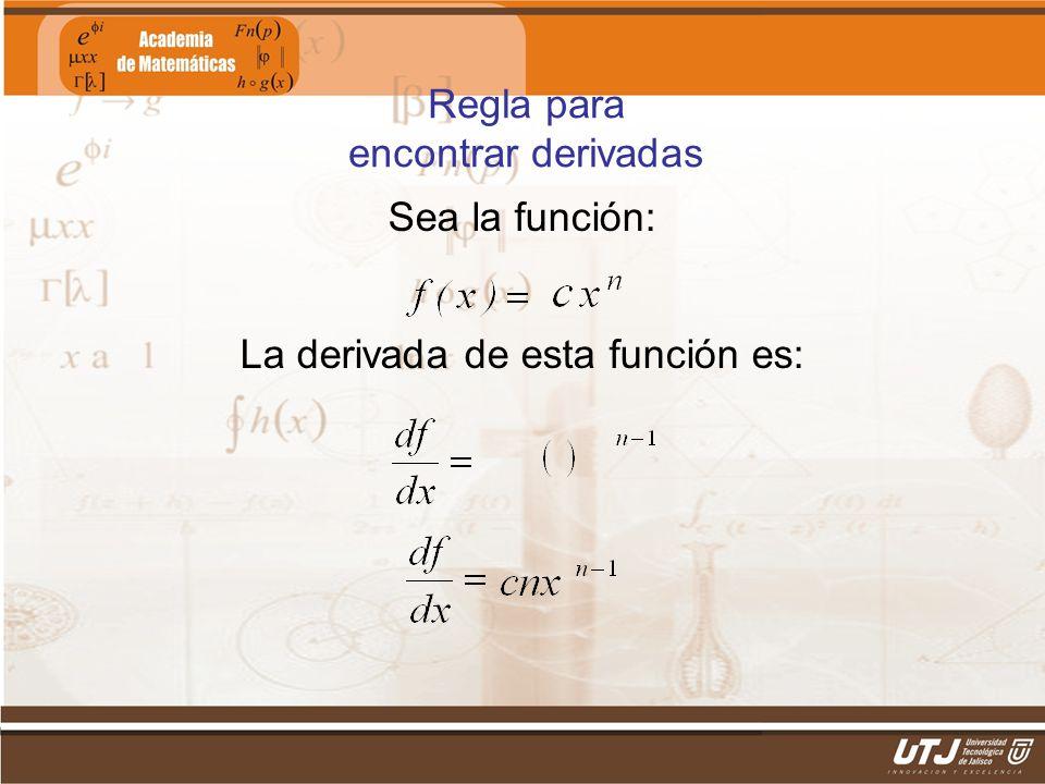 Matemáticas IIFís. Edgar I. Sánchez Rangel Sea la función: La derivada de esta función es: Regla para encontrar derivadas