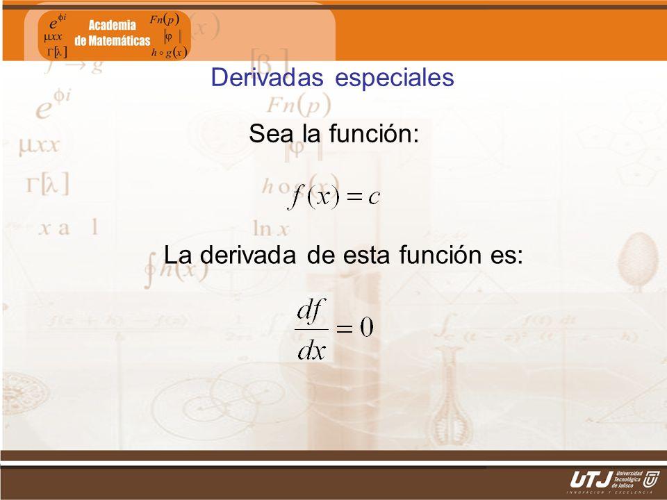 Matemáticas IIFís. Edgar I. Sánchez Rangel Sea la función: Derivadas especiales La derivada de esta función es: