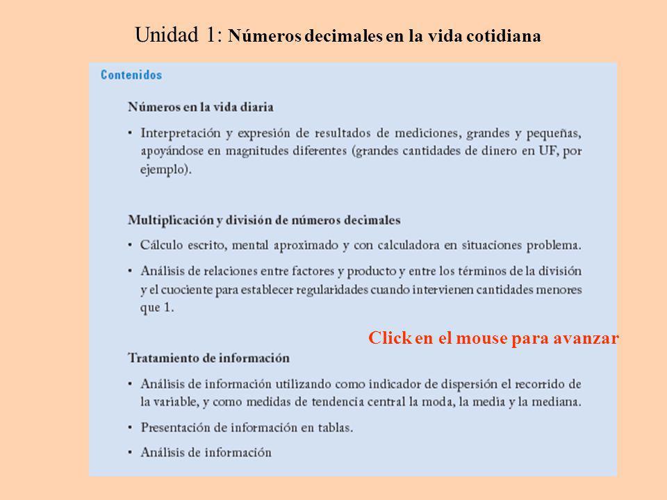 Unidad 1: Números decimales en la vida cotidiana Click en el mouse para avanzar
