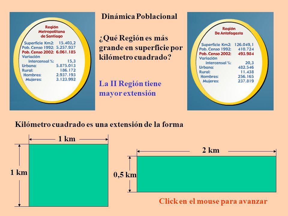 Dinámica Poblacional Se define la densidad poblacional como la población de la Región dividido por la superficie de la misma Región.
