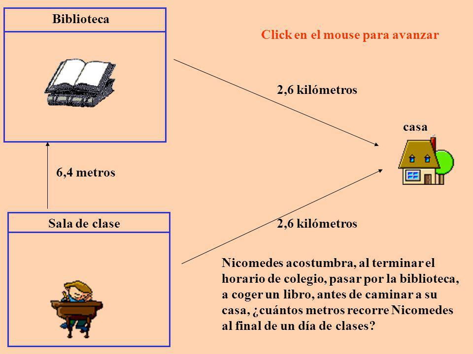 Sala de clase Biblioteca 6,4 metros casa 2,6 kilómetros 6,4 metros + 2,6 kilómetros = 6,4 + 2,6 = 9,0 ????.