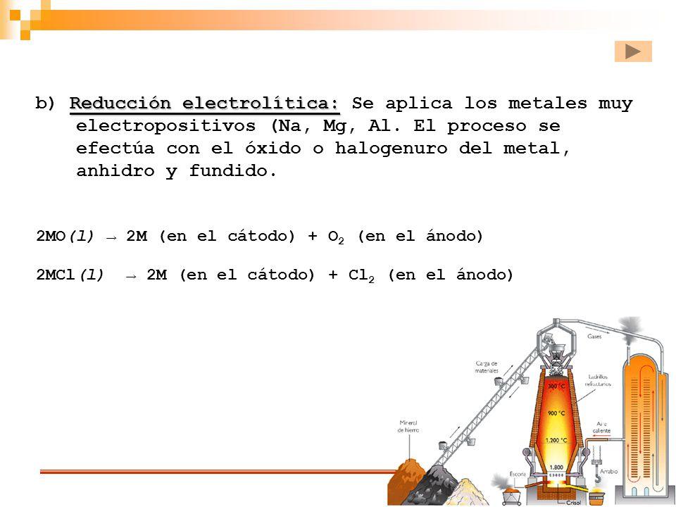 Reducción electrolítica: b) Reducción electrolítica: Se aplica los metales muy electropositivos (Na, Mg, Al. El proceso se efectúa con el óxido o halo