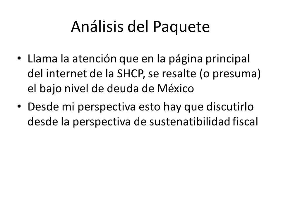 Análisis del Paquete Llama la atención que en la página principal del internet de la SHCP, se resalte (o presuma) el bajo nivel de deuda de México Desde mi perspectiva esto hay que discutirlo desde la perspectiva de sustenatibilidad fiscal