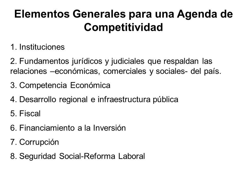 Elementos Generales para una Agenda de Competitividad 1.