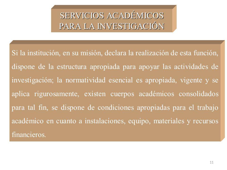 11 SERVICIOS ACADÉMICOS PARA LA INVESTIGACIÓN Si la institución, en su misión, declara la realización de esta función, dispone de la estructura apropi