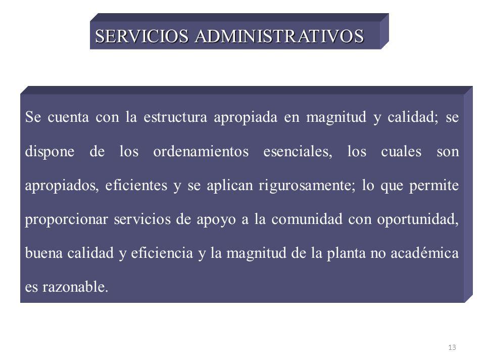 13 SERVICIOS ADMINISTRATIVOS Se cuenta con la estructura apropiada en magnitud y calidad; se dispone de los ordenamientos esenciales, los cuales son a
