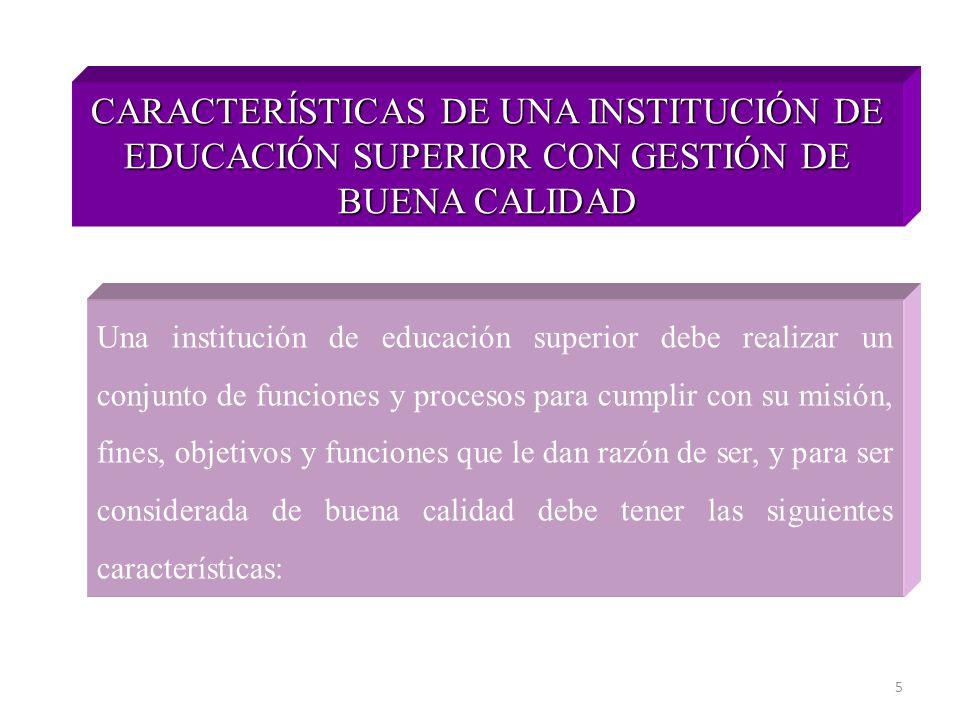 5 CARACTERÍSTICAS DE UNA INSTITUCIÓN DE EDUCACIÓN SUPERIOR CON GESTIÓN DE BUENA CALIDAD Una institución de educación superior debe realizar un conjunt