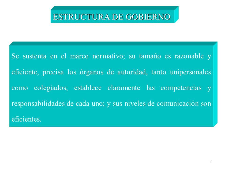 7 ESTRUCTURA DE GOBIERNO Se sustenta en el marco normativo; su tamaño es razonable y eficiente, precisa los órganos de autoridad, tanto unipersonales