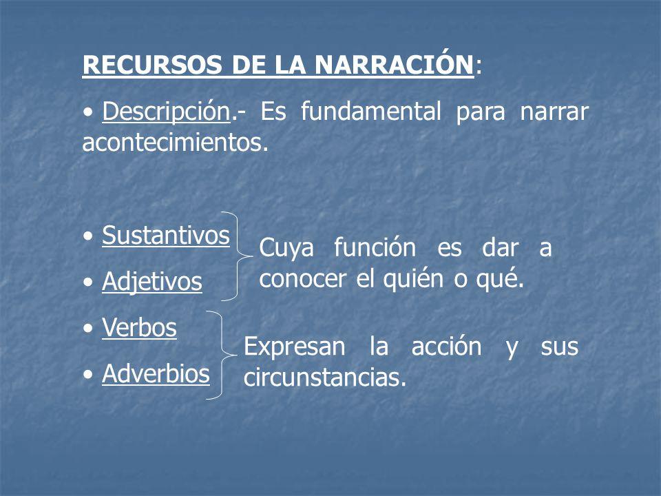 RECURSOS DE LA NARRACIÓN: Descripción.- Es fundamental para narrar acontecimientos. Sustantivos Adjetivos Verbos Adverbios Cuya función es dar a conoc