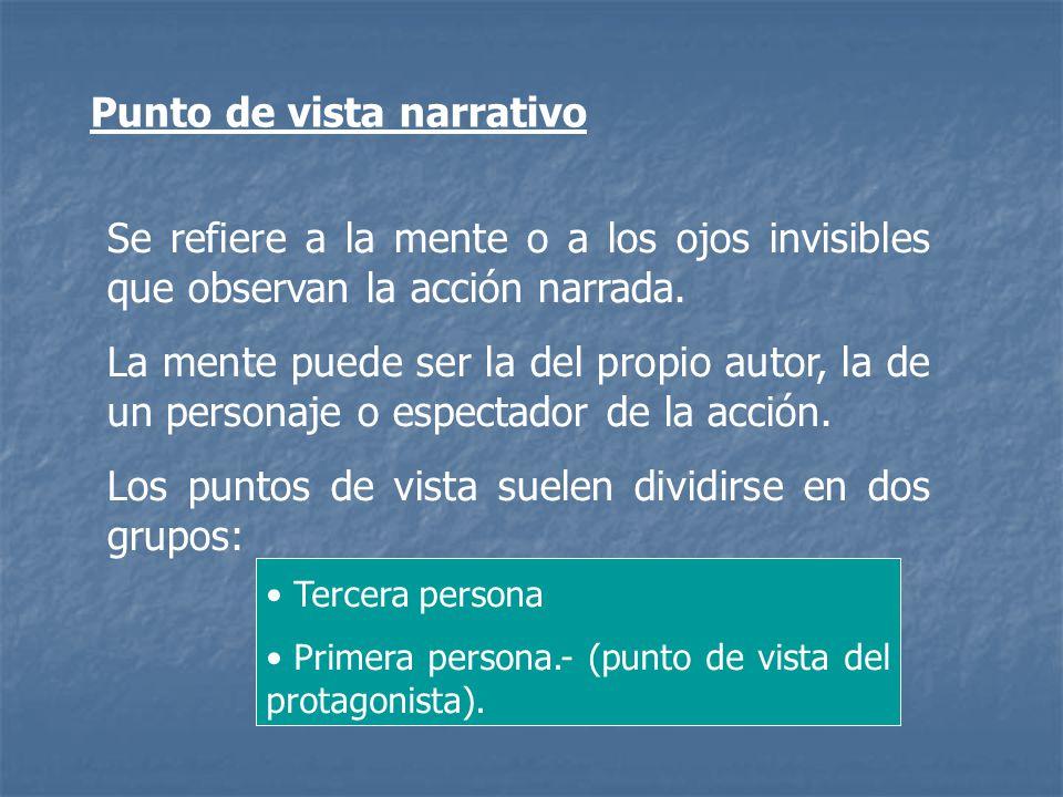 Punto de vista narrativo Se refiere a la mente o a los ojos invisibles que observan la acción narrada. La mente puede ser la del propio autor, la de u