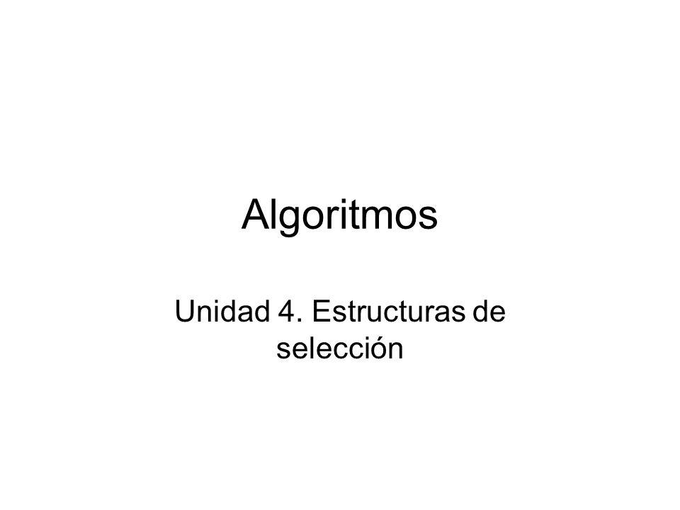 Algoritmos Unidad 4. Estructuras de selección