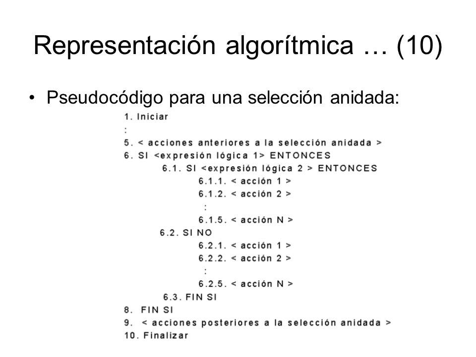 Representación algorítmica … (10) Pseudocódigo para una selección anidada: