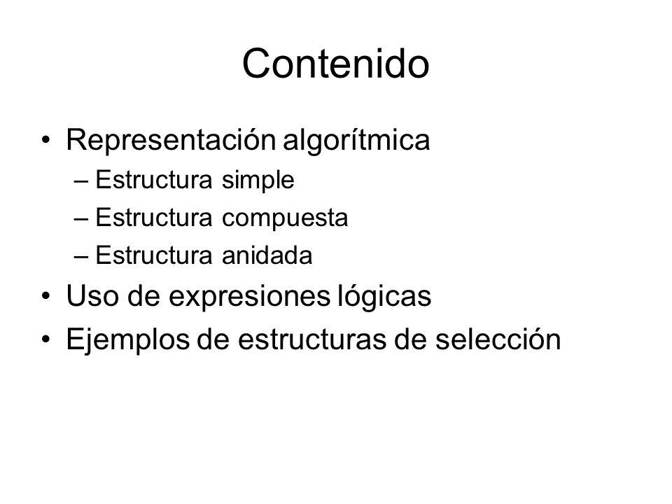 Contenido Representación algorítmica –Estructura simple –Estructura compuesta –Estructura anidada Uso de expresiones lógicas Ejemplos de estructuras de selección