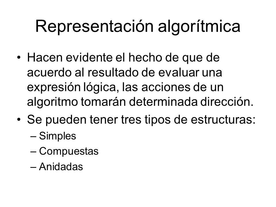 Representación algorítmica Hacen evidente el hecho de que de acuerdo al resultado de evaluar una expresión lógica, las acciones de un algoritmo tomarán determinada dirección.