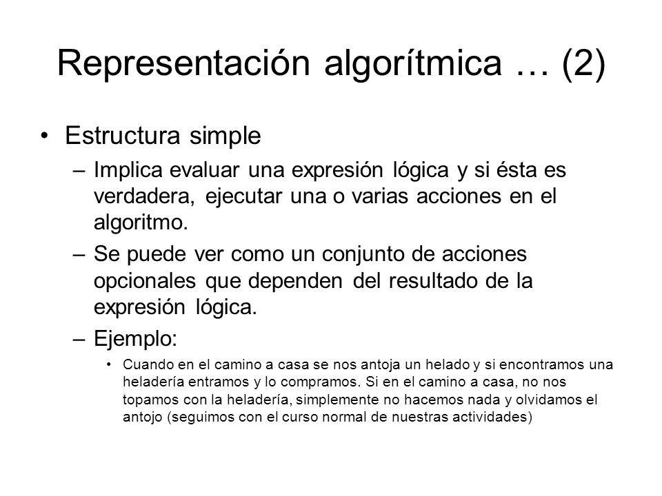 Representación algorítmica … (2) Estructura simple –Implica evaluar una expresión lógica y si ésta es verdadera, ejecutar una o varias acciones en el algoritmo.